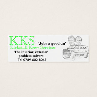 "KKS white van fin, KKS, ""Jobs a good'un"", Tel 0... Mini Business Card"