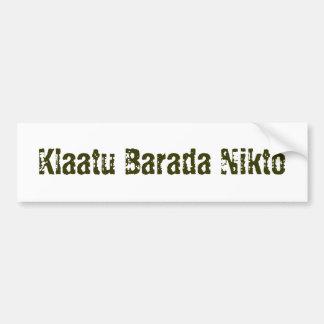 Klaatu Barada Nikto Etiqueta De Parachoque