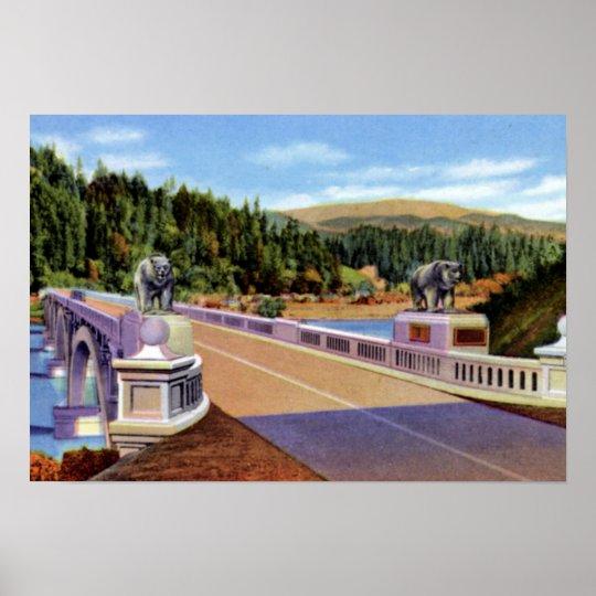 Klamath California Douglas Memorial Bridge over Kl Poster