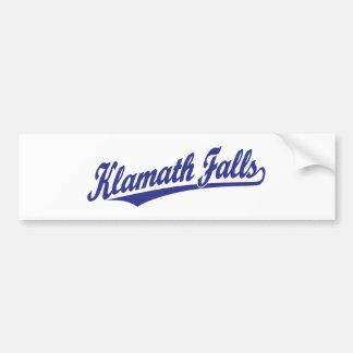 Klamath Falls script logo in blue Car Bumper Sticker