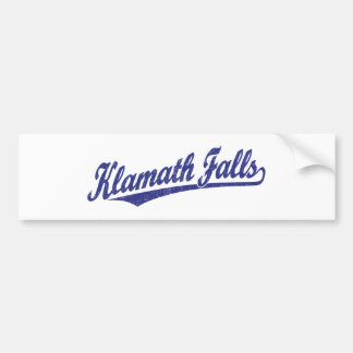 Klamath Falls script logo in blue distressed Car Bumper Sticker