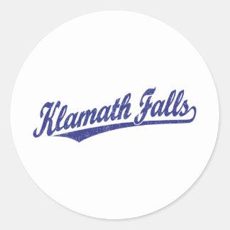 Klamath Falls script logo in blue distressed Classic Round Sticker