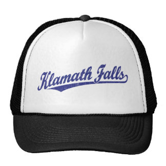 Klamath Falls script logo in blue distressed Trucker Hat