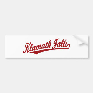 Klamath Falls script logo in red Car Bumper Sticker