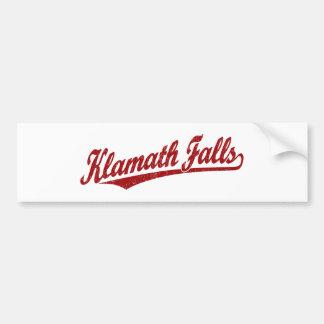 Klamath Falls script logo in red distressed Car Bumper Sticker