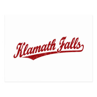 Klamath Falls script logo in red distressed Postcard