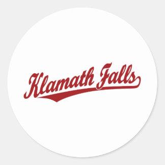 Klamath Falls script logo in red Classic Round Sticker