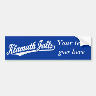 Klamath Falls script logo in white distressed Car Bumper Sticker