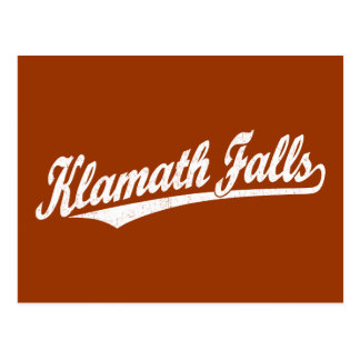 Klamath Falls script logo in white distressed Postcard