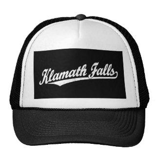 Klamath Falls script logo in white distressed Trucker Hat