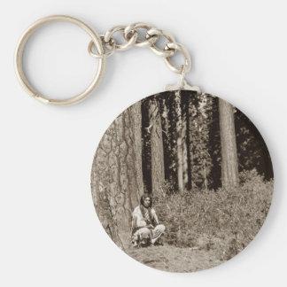 Klamath Native American Indian Ponderosa Pine Basic Round Button Keychain