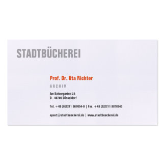 Klare Visitenkarte mit orange Business Card