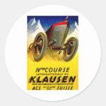 Klausen Race ~ Vintage Automobile Ad Classic Round Sticker