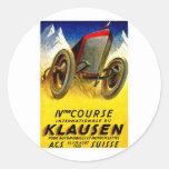 Klausen Race ~ Vintage Automobile Ad Round Stickers