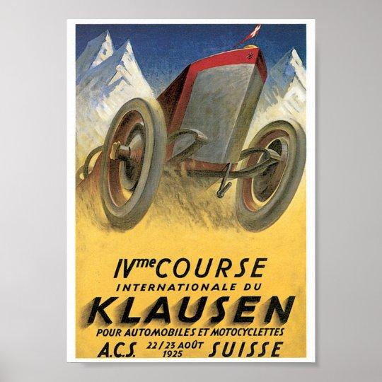 Klausen Suisse Automobile Vintage Ad Art Poster