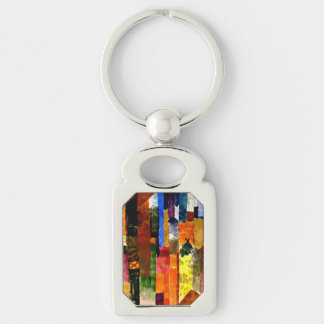 Klee - Before the Town Silver-Colored Rectangular Metal Keychain
