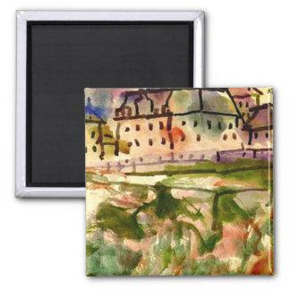 Klee - casas cerca de la grava Pit-1913 Imán Cuadrado