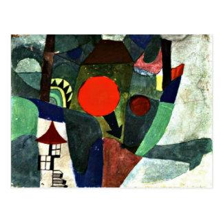 Klee - con el sol poniente tarjeta postal