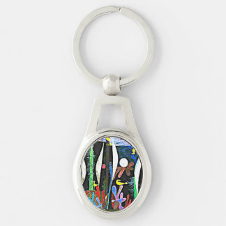 Klee - Landscape with Yellow Birds Silver-Colored Oval Metal Keychain