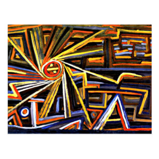 Klee painting, Radiation and Rotation Postcard