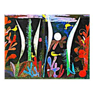 Klee - paisaje con los pájaros amarillos postal