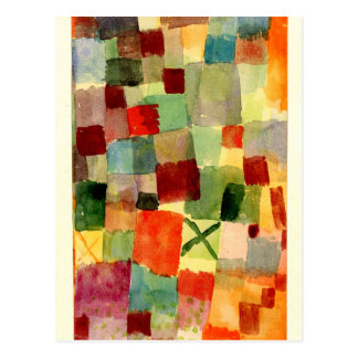 Klee - Watercolor with Dark Green Cross Postcard