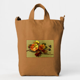 Klein Autumn Leaves & Berries Green Red Duck Canvas Bag