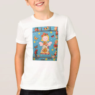klein engel t-shirt, blauw met bloemen T-Shirt
