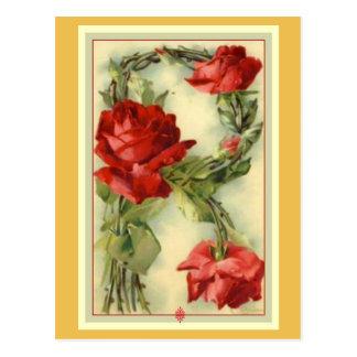 Klein Red Roses Alphabet Vintage Postcard