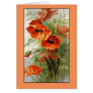 Klein Vintage Red Poppy Flowers Card