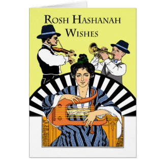 Klezmer Family Band for Rosh Hashanah, New Year Card