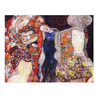 Klimt adorna a la novia con velo y la guirnalda postal