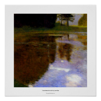 Klimt art painting quiet pond in the park appeal poster