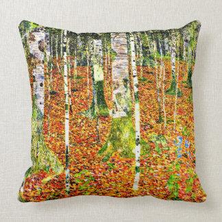 Klimt - Birch Forest, painting by Gustav Klimt Throw Pillow