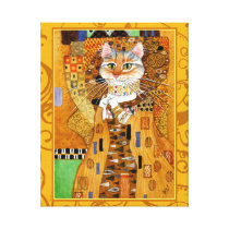 Klimt Cat Woman in Gold art spoof Canvas Print