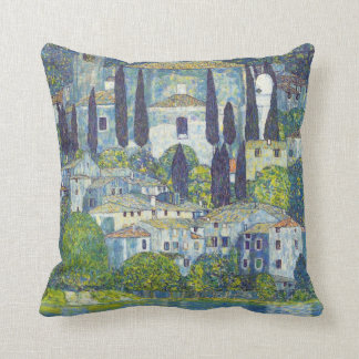 Klimt cityscape painting throw pillow