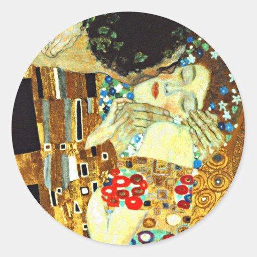 Klimt - el beso pegatina redonda