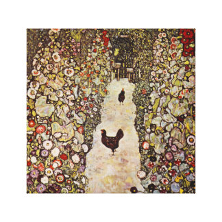 Klimt Garden With Roosters Canvas Print