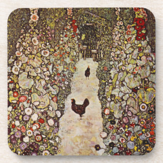 Klimt Garden With Roosters Coaster