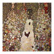 Klimt Garden With Roosters Invitations