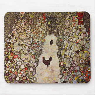 Klimt Garden With Roosters Mouse Pad