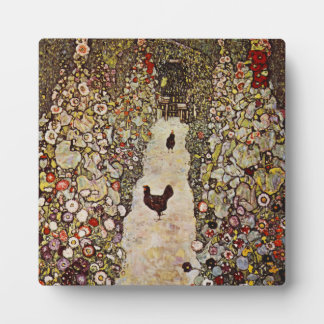 Klimt Garden With Roosters Plaque