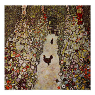 Klimt Garden With Roosters Poster