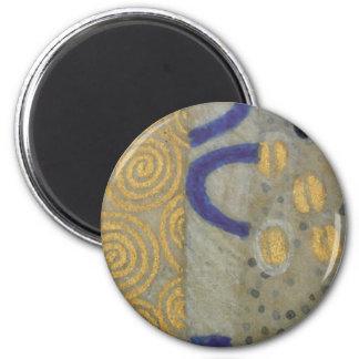 Klimt Gold, Beige Black Art Nouveau Pattern 2 Inch Round Magnet