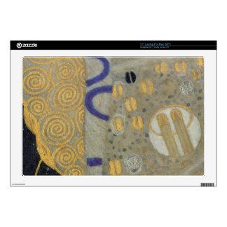 Klimt Gold, Beige Black Art Nouveau Pattern Skin For Laptop