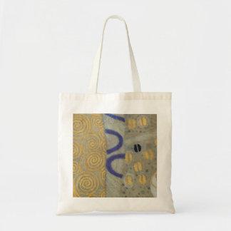 Klimt Gold, Beige Black Art Nouveau Pattern Tote Bag
