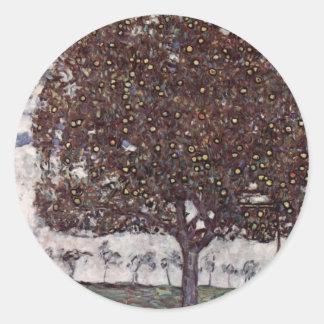 Klimt, Gustav: Apfelbaum II Classic Round Sticker