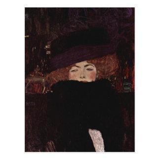 Klimt, Gustav Dame mit Hut und Federboa 1909 Techn Postcard