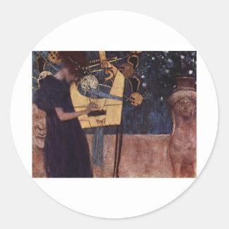 Klimt Gustav The Music Classic Round Sticker