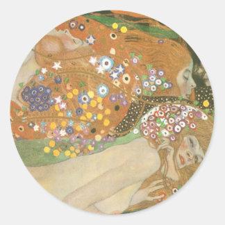 Klimt, Gustav: Wasserschlangen (Freundinnen) II Classic Round Sticker